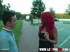 Beautiful redhead german teen girl fucks public !