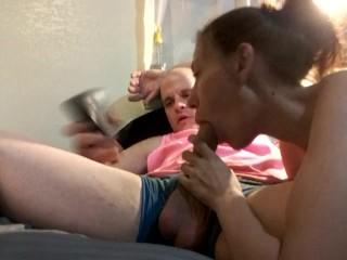 GF suck huge white cock