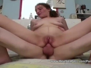 A shaved pussied wife is drilled hard in her ass
