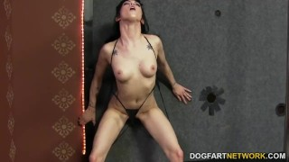Asphyxia Noir takes black cock at Gloryhole  big cock trimmed gloryhole tattoo small tits fetish hardcore handjob cock sucking interracial dogfartnetwork brunette natural tits