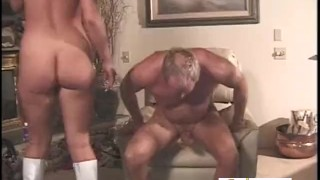 Mature Guy Cums Only After A Pegging  strap on prostate massage white boots pegging older man bdsm couple femdom amateur fucking kink facesittingbutts female domination adult toys