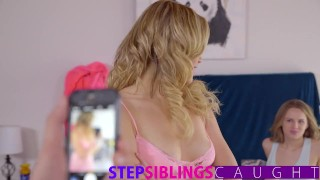 Fucking my step sister and her hot friend  brother fucks sister step-siblings teen step-brother blonde blowjob bedroom hardcore stepsiblingscaught mia-malkova step-sister 3some threesome small-tits