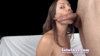 Lelu Love-Topless Blowjob Cock Sucking Tutorial lelu-love domination closeups homemade femdom throating amateur blowjob cumshot feminization brunette natural-tits fetish humiliation