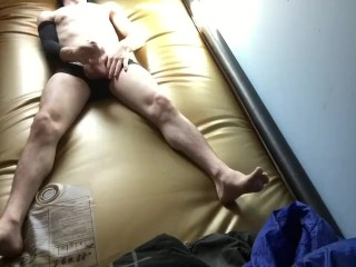 Another jack-off cum on waterbed vid