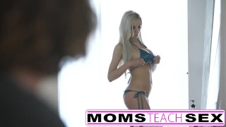 Preview 5 of Hot threesome for stepmom and young schoolgirl