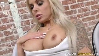 Nina Elle sucks black cocks through Gloryhole  big tits big cock blowjob blonde gloryhole cumshot fetish big dick interracial gagging deepthroat facial big boobs glory hole dogfartnetwork fake tits
