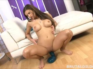 Brunette babe with a brutal cobra dildo and big black fucking machine dildo