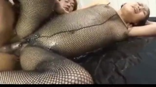 Miyo Kasuge gets cock and lotion over body  pussy-creampies alljapanesepass 3some creamed cunt rear fuck fishnet lingerie wet-body cumshot cum busty
