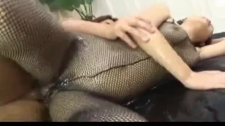 Miyo Kasuge gets cock and lotion over body  pussy-creampies alljapanesepass rear-fuck 3some creamed cunt fishnet lingerie wet-body cumshot cum busty
