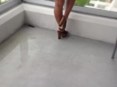 Balcony Passion with Huge tits and Wet Pussy Miami Beach