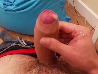 Moaning while shooting a nice load of cum