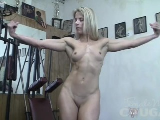 Muscle Cougar Claire Works Out Naked