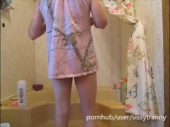 shower time with sissy, hot shower body washing and playing with self