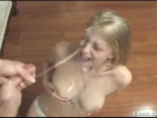 Blonde bimbo topless cumblast