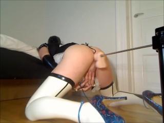 Sissy crossdresser maid in uniform and latex uses fucking machine