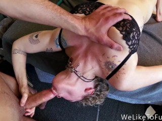 Watch Her Gag and Squirm While She Swallows a Big Pierced Cock