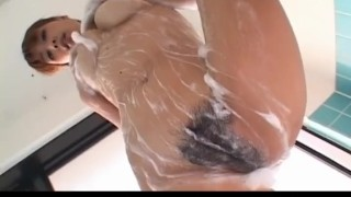 Ai Kurosawa soaps her hairy cunt and big tits  shower pussy alljapanesepass big boobs soaps tits dildo solo girl masturbate busty