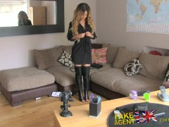 FakeAgentUK Tight pussy Essex chick returns for 2nd casting couch fucking