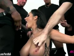 Ava Addams sucking 5 cocks then gang banged in all holes