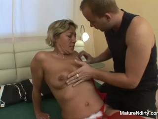 Young man wakes grandma up to fuck her hard 4