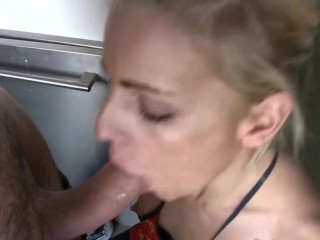French girlfriend enjoys sucking a cock at kitchen