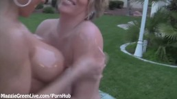 Busty Maggie Green Oils Up Brianna Outside!
