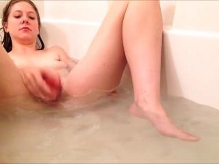 Solo girl bath dildo masturbation builds to cum-climax