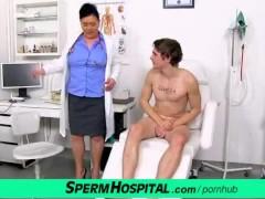 Czech milf doctor Danica milking huge cock of a boy