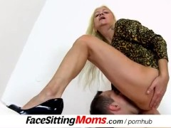 Grandma with boy dirty pussy eating f...