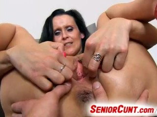 Milf pussy spreading with Nora up close angle