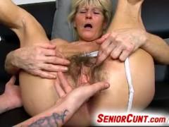 Old hairy vagina of grandma Hana fing...