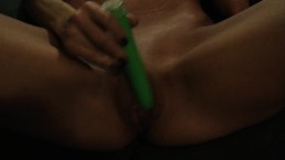 Sexy Milf Fucks Her Pussy With Her Green Dildo Until She Cums