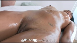 Tiny4k - Ebony Katalina Mills gets a messy oiled massage fuck