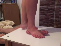 Cock and balls under foot -footjob massage crushing