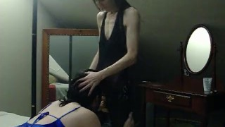 I make my sissy husband suck my strapon  strap on dominant wife femdom strapon cuckold husband strapon femdom milf sissy kink mother crossdresser sissy husband sissy training crossdresser blowjob cuckold humiliation