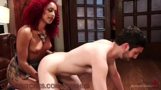 Domme Makes Husband Suck Stud's Dick  dominatrix bdsm punish cuckold submission humiliation leash redhead femdom goddess black tattoo domination divinebitches kink hunk 3some bondage