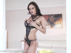 Abbie Cat in mind blowing lingerie teasing and fingering shaven pussy