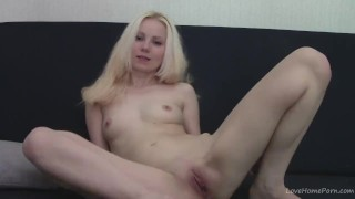 Preview 1 of Teen blonde fingering and recording herself