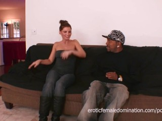 Skinny milf fucks her daughters black boyfriend on the couch