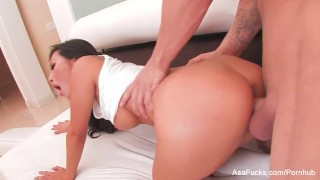 Sexy Asa Akira swallows his cum  babe asian puba cumshot asaakira skinny swallow socks asafucks doggy-style blowjob pornstar tattoo hardcore japanese gagging