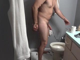 Morning Piss into toilet, Half Hard