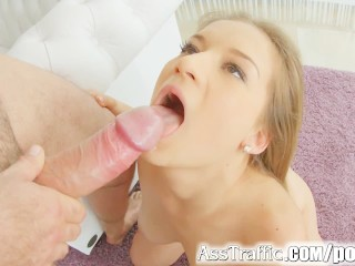 Asstraffic pretty girl shows gaping hole during anal