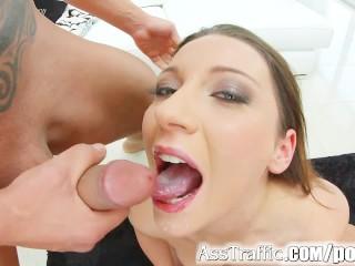 Asstraffic threesome fun for brunette Julie Skyhigh