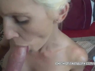 Blonde housewife Jolene fucks and swallows some dick