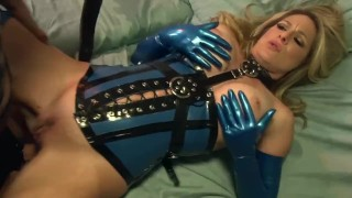 Bossy blonde fucked on a couch in latex gloves a corset and stockings  lingerie big cock mom blonde fetish milf hardcore kink gloves heels latex shaved mother stockings corset big boobs cougar lingerielover