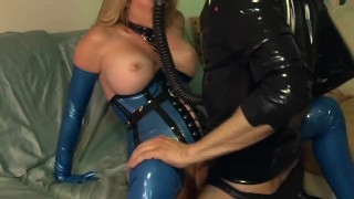 Bossy blonde fucked on a couch in latex gloves a corset and stockings lingerie big cock milf hardcore heels lingerielover kink mom blonde cougar latex shaved big boobs mother gloves stockings fetish corset