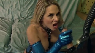 Bossy blonde fucked on a couch in latex gloves a corset and stockings  lingerie big cock mom blonde fetish milf hardcore kink gloves heels cougar latex shaved mother stockings big boobs lingerielover corset
