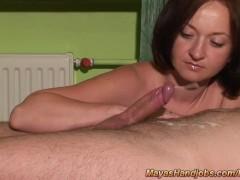 nude handjob with 2 cumshots