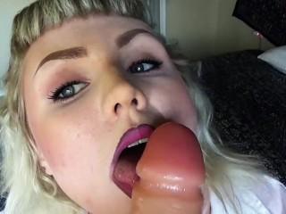Gagging dildo deep throat POV