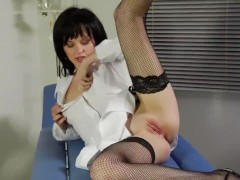 Nurse with small tits getting fucked in fishnet stockings and strappy heels